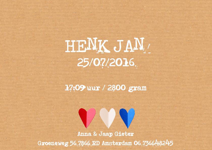 geboortekaartje hartjes Holland 3