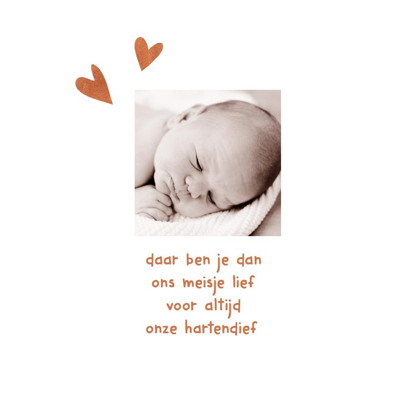 Geboortekaartje hartjes koper 2