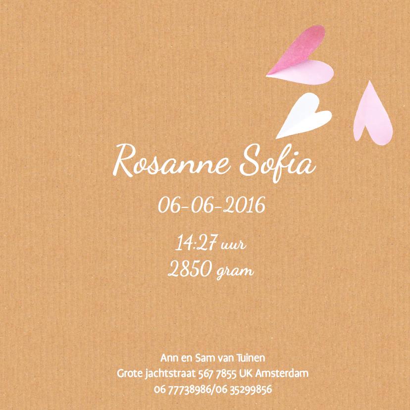 geboortekaartje hartjes Rosanne 3