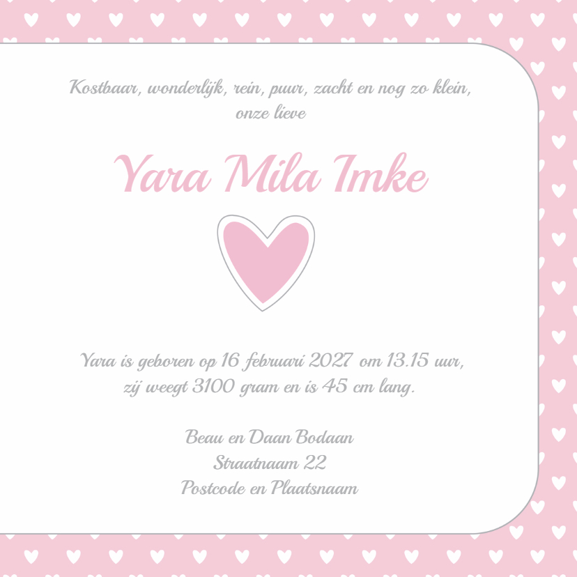 Geboortekaartje hartjes Yara 3