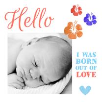 Geboortekaartjes - Geboortekaartje hip bloemen