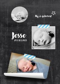 Geboortekaartjes - Geboortekaartje hip chalkboard