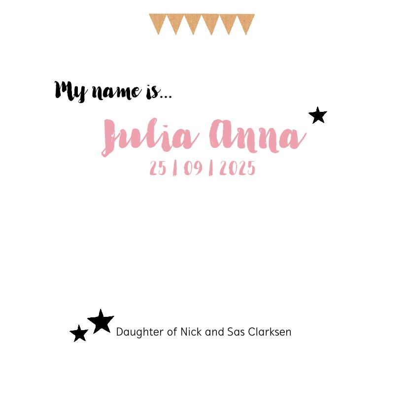 Geboortekaartje hip karton girl 3