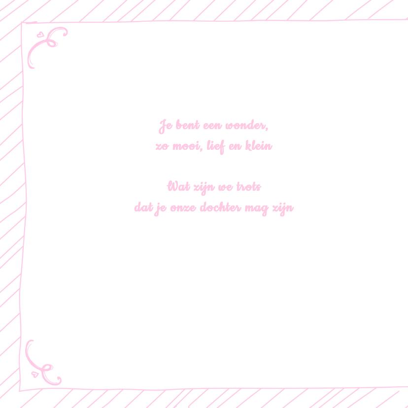 Geboortekaartje hip roze tekst 2