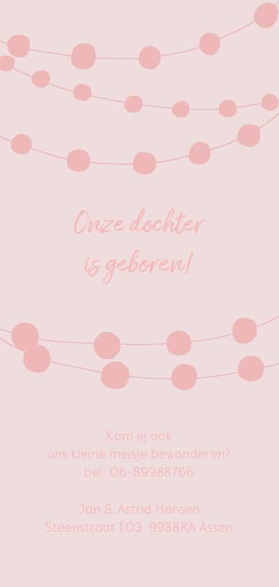 Geboortekaartje hip waslijn roze meisje achterkant