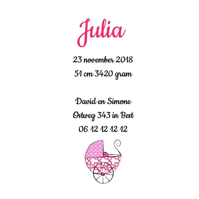 Geboortekaartje Hollands roze 3
