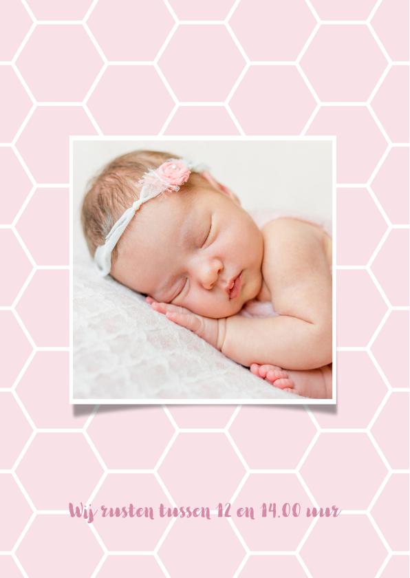 Geboortekaartje honingraat achtergrondkleur aan te passen 2