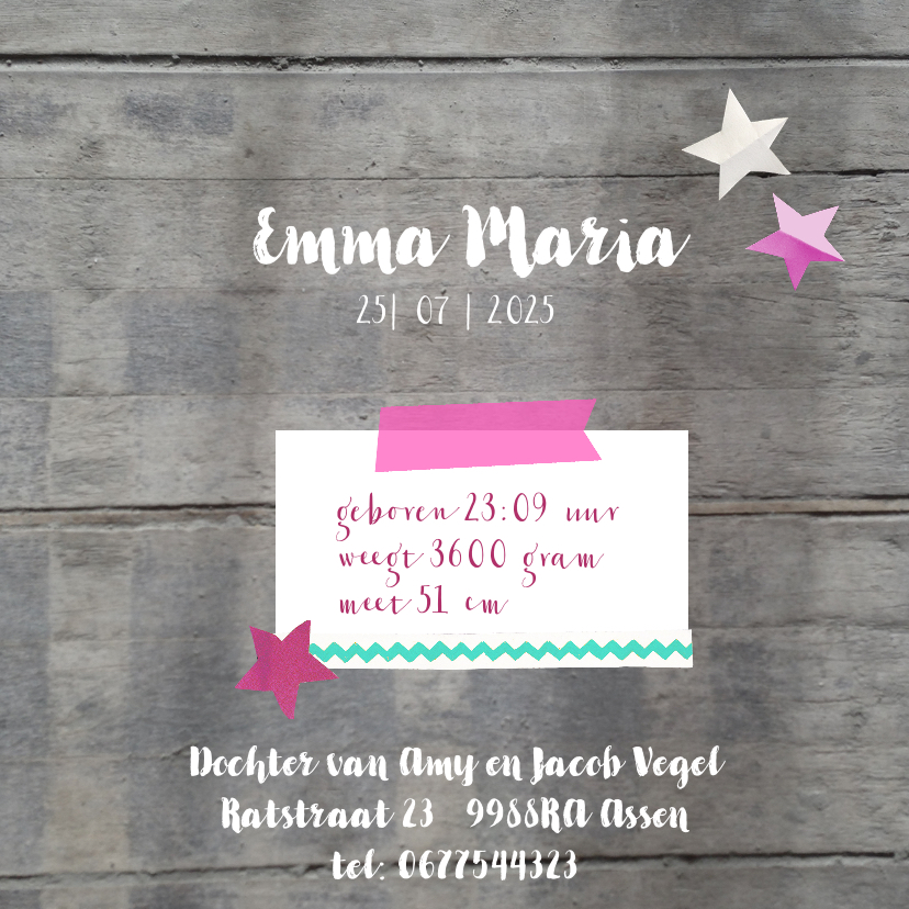 Geboortekaartje hout Emma 3