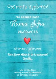 Geboortekaartjes - geboortekaartje hout Hanna