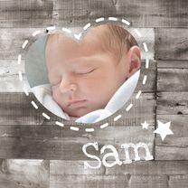 Geboortekaartjes - Geboortekaartje Hout Hartje 1LS3