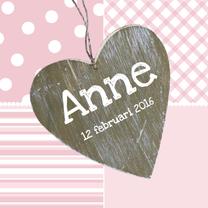 Geboortekaartjes - Geboortekaartje Houten hart roze