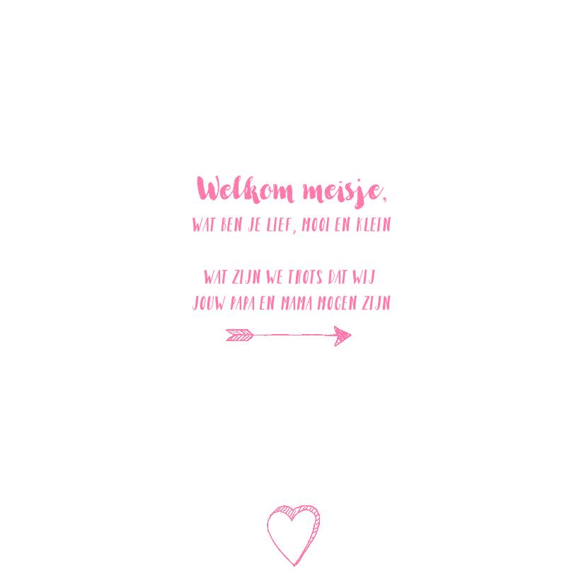 Geboortekaartje handlettering icoontjes foto roze  2