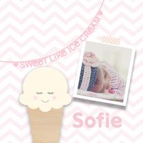 Geboortekaartjes - Geboortekaartje ijsje roze