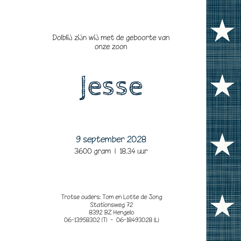 Geboortekaartje jongen Jesse 3