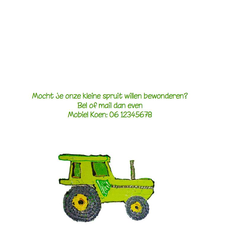 Geboortekaartje Jongen met tractor 2