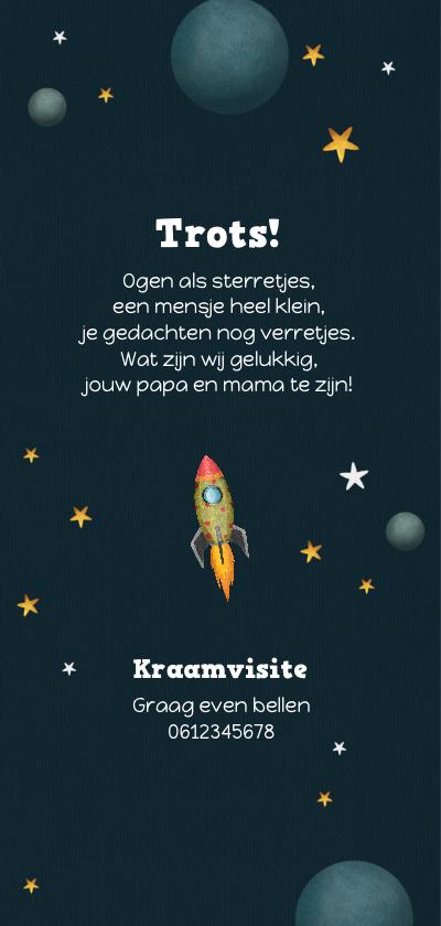Geboortekaartje jongen space thema raket en sterren 2