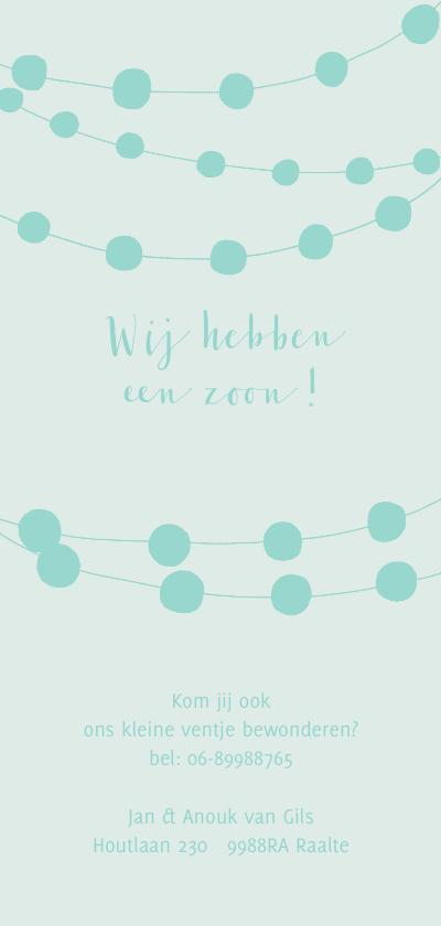 Geboortekaartje jongen waslijn en slingers blauw Achterkant