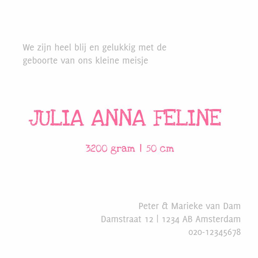 Geboortekaartje Julia foto SS 3