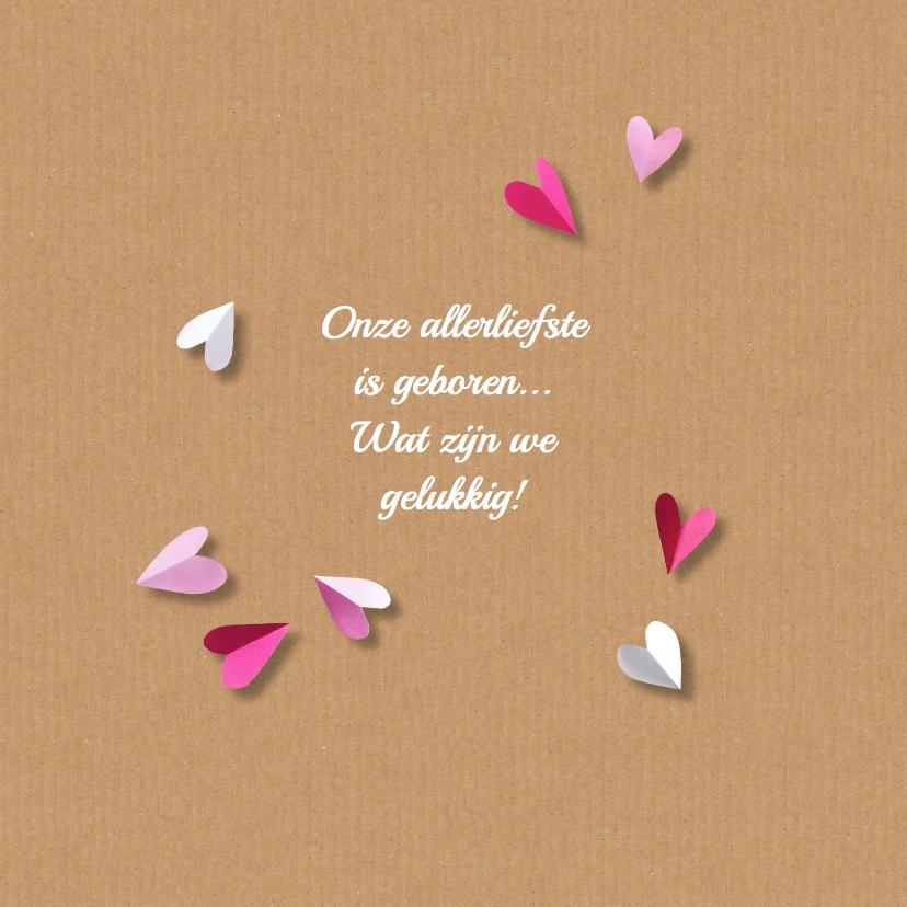 Geboortekaartje karton hart roze 2