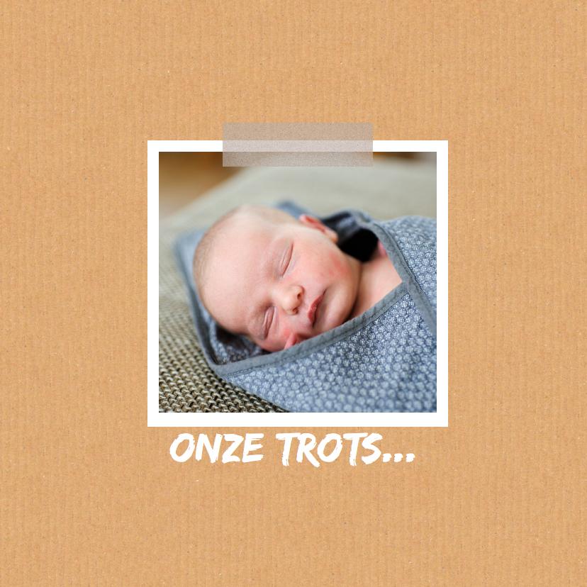 Geboortekaartje karton hart wit 2