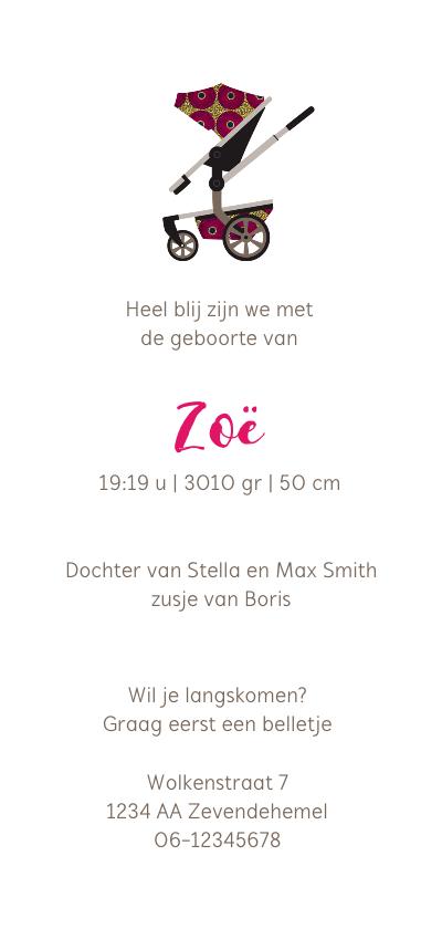 Geboortekaartje kinderwagen in Afrikaanse print in roze achterkant