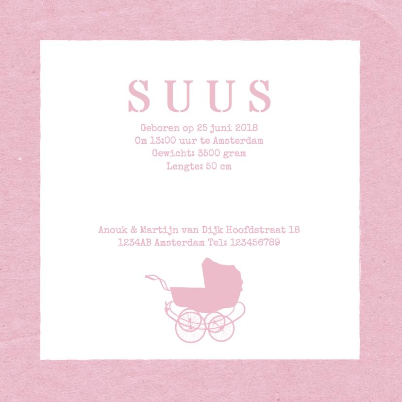 Geboortekaartje kinderwagen roze 3
