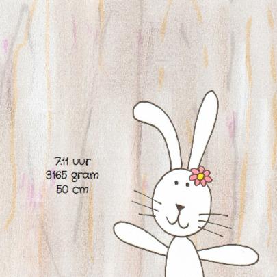 Geboortekaartje konijn houtprint 2