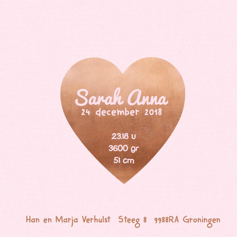 Geboortekaartje koper hart roze 3