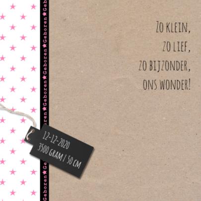 Geboortekaartje kraft ster roze 2