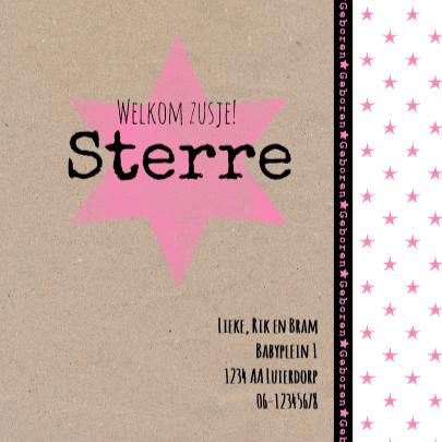 Geboortekaartje kraft ster roze 3
