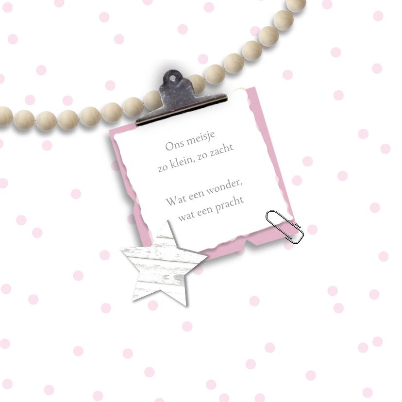 Geboortekaartje foto kralen sterren meisje 2