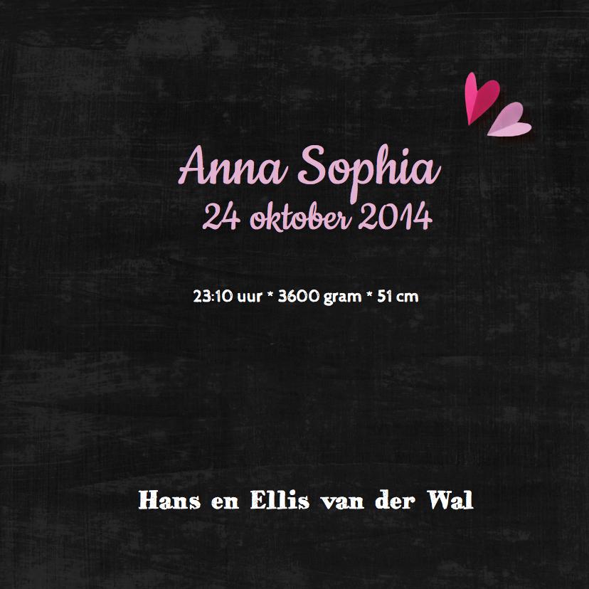 Geboortekaartje krijtbord Anna 3
