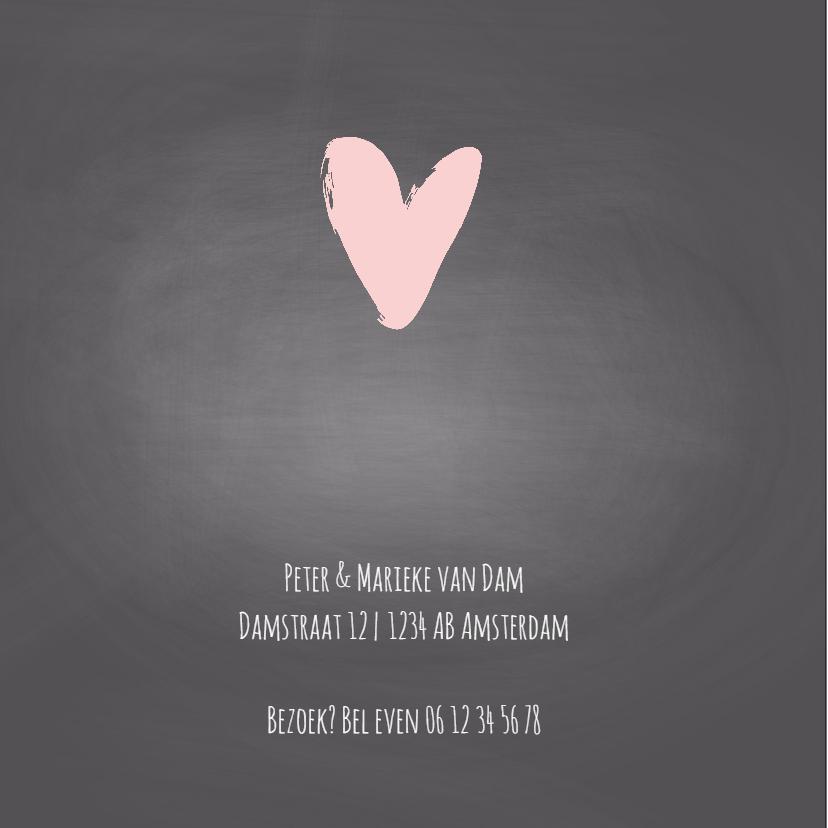 Geboortekaartje krijtbord roze   2