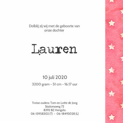 Geboortekaartje Lauren Sterren 3