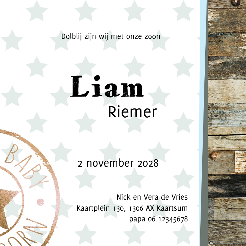 Geboortekaartje Liam sterren hout- LO 3