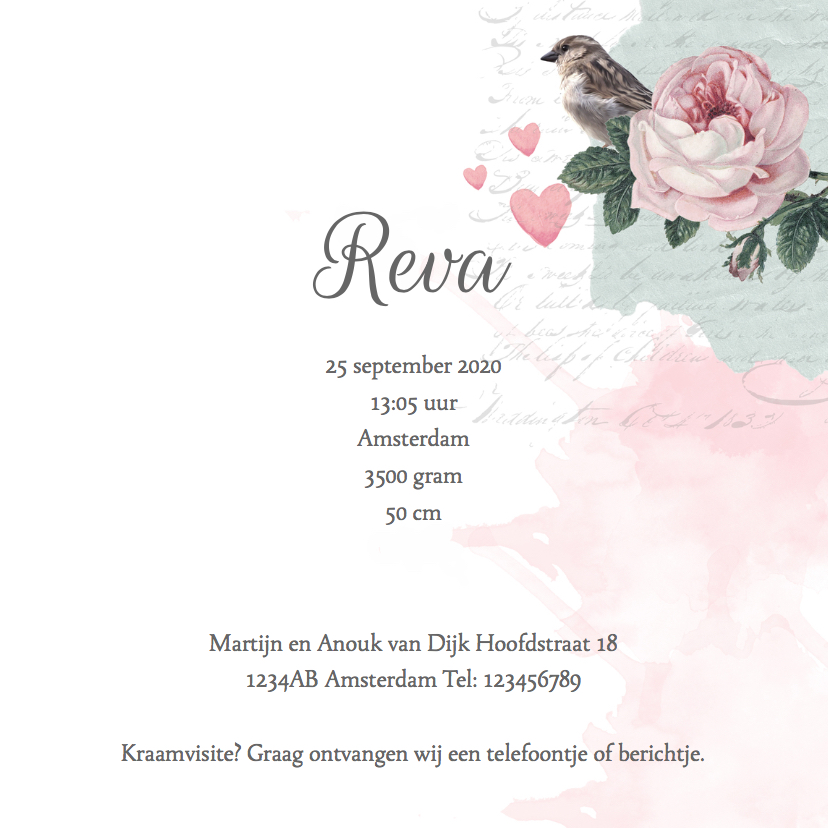 Geboortekaartje lief foto's, rozen en vogeltje 3