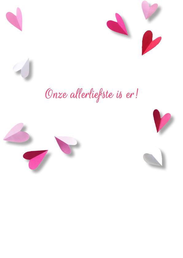 Geboortekaartje lief hart roze 2