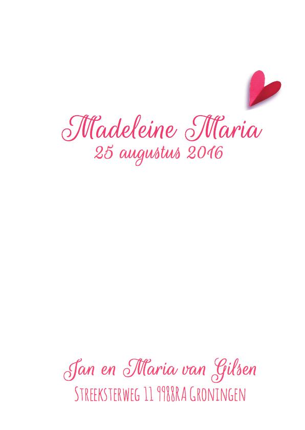 Geboortekaartje lief hart roze 3