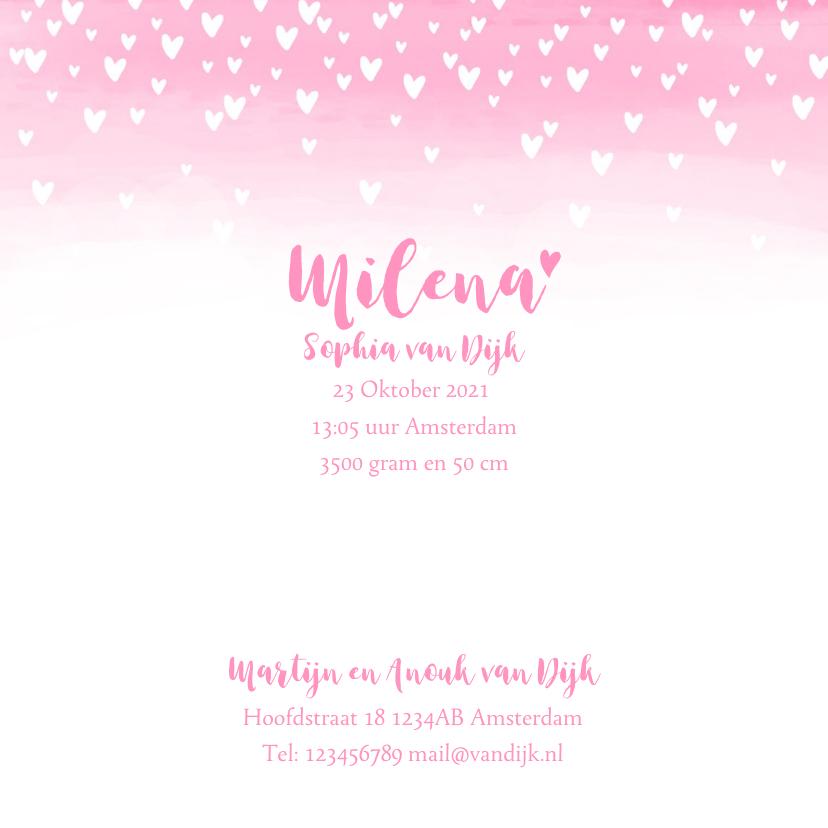 Geboortekaartje lief hartjes aquarel foto roze  3