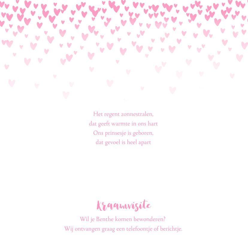 Geboortekaartje lief  hartjes aquarel roze 2
