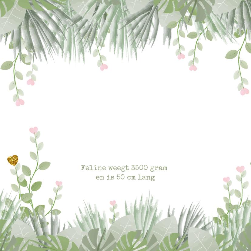 Geboortekaartje lief hartjes botanische stijl 2