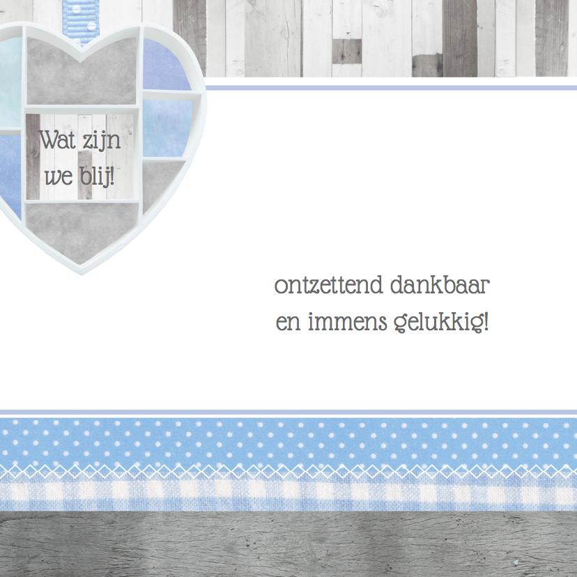 Geboortekaartje lief houten hart 2
