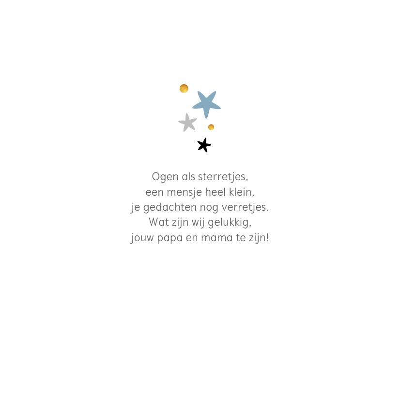Geboortekaartje lief met sterretjes en goudaccent 2