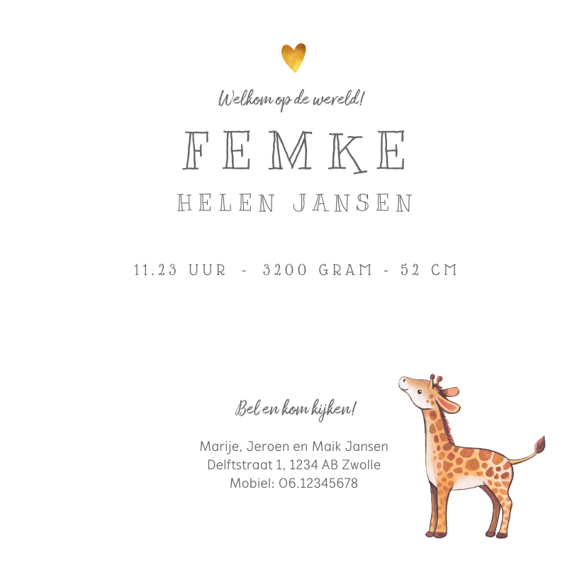 Geboortekaartje lief voor een jongen of meisje met girafje 3