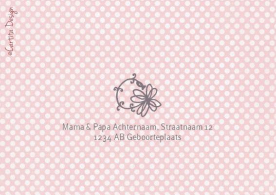 Geboortekaartje Lijn Bloem Roze 2