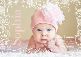 Geboortekaartjes - Geboortekaartje Lijn Bloem Roze