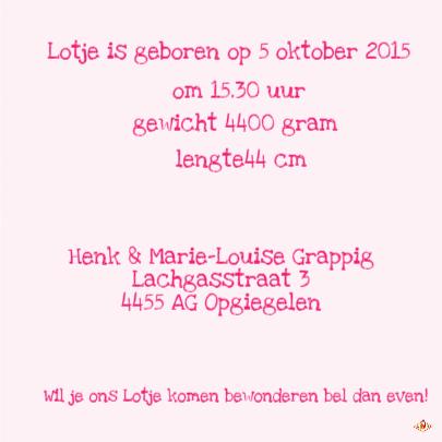 Geboortekaartje Lotje PA 3