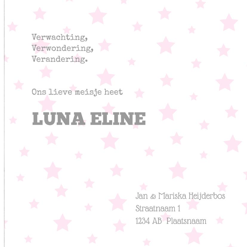 Geboortekaartje Luna hout ster 3