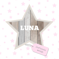 Geboortekaartjes - Geboortekaartje Luna hout ster