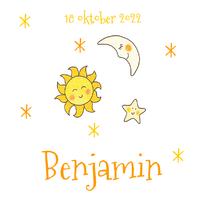 Geboortekaartjes - geboortekaartje maan zon sterren